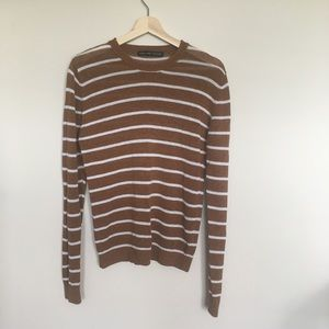 Zara Man Brown and White Striped Crewneck Sweater